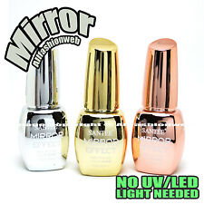 SANTEE 3 Pcs Color Mirror Effect Metallic No UV LED Nail Polish Bold Lacquer