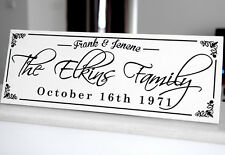 "Personalized Family Sign Plaque Wedding or Anniversary Gift 8x22"" Solid Wood 016"