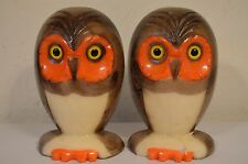 Genuine Alabaster Owl Book End Figures Mid Century Hand Carved Italy VTG 60s 70s