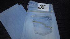 Kocca jeans donna 27 celeste con strass slim fit elasticizzato vita media
