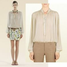 $695 GUCCI TOP RICE VOILE CREPONNE SHIRT LONG SLEEVES SILK BLEND BLOUSE 44 US 8