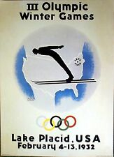 "1932 Lake Placid - WINTER OLYMPIC POSTER - IOC Licensed reprint - 13"" x 18"""