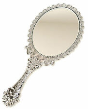 Vintage Style Silver Vanity Mirror Hand Held Girls Princess Party Parties Makeup
