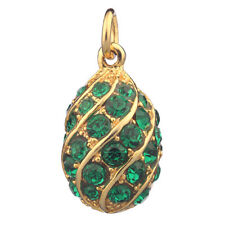 Faberge Egg Pendant / Charm with crystals 2 cm green #P4-04-08