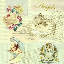 "4x Single Lunch Party Vintage Paper Napkins for Decoupage Craft ""Romantic Angels"
