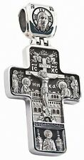 RUSSIAN ORTHODOX 925 SILVER CROSS PENDANT JESUS CHRIST