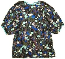 Anthropologie Ric Rac Floral Top - Boho Chic Puff 3/4 Sleeve - Multi Color sz S