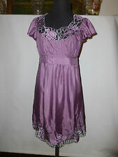 LADIES LIPSY PURE SILK TUNC  DRESS WITH DOVE IN LACE  - - SIZE UK 8  NEW