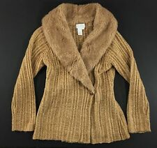 Soft Surroundings tan camel acrylic wool sweater faux fur collar jewels Medium