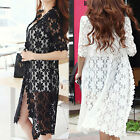 Summer Women Lace Floral Long Cardigan Casual Beach Cape Coat Poncho Outwear Top