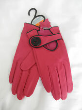 GORGEOUS CERISE PINK REAL LEATHER GLOVES WITH BIG BUTTON BNWT!!!