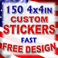 150 4x4 Custom Printed Full Color Outdoor Vinyl Car Bumper Sticker Decal Label