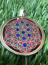 $72 Tree Of Life On Flower Of Life 1 5/8 Pendant Black Tourmaline Gemstone #gift