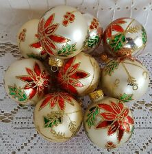 9 Glass Christmas Tree Ornaments Red Green Gold Poinsettia Flower Holly Berry