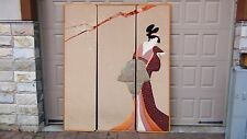 20c JAPANESE 3 PANELS FLOOR SCREEN SILK,VELVET ,FABRIC APLIQUE OF GEISHA WOMAN