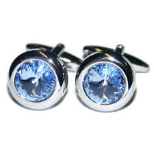 Silver Round With Blue Crystal Cufflinks & Gift Pouch Formal Diamond Style New