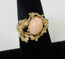 14K Gold Cluster Pink Coral JTC Cocktail Ring Size 7