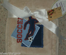 TADPOLES BABY BLANKET SOCCER BALL PLAYER EMBROIDERY BLUE TAN BOY SPORT TEAMSOFT
