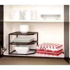 Kitchen Cabinet Organizer 2 Tier Corner Shelf Drawer Dish Bowl Storage Rack Iron