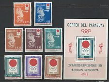 PARAGUAY , 1964 OLYMPICS , SS & SET OF 8  PERF , MNH