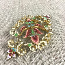 Antigua Hebilla de correa señoras del esmalte Art Nouveau recargado elegante Esmaltado Vintage Vintage