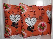 2 er Set Kissenhülle Kissenbezug Pfirsich Aufdruck 45 x 45 cm Shabby vintage
