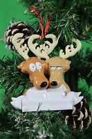 PERSONALISED CHRISTMAS TREE DECORATION ORNAMENT  REINDEER COUPLE
