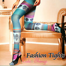 Retro Mix Striped with Cute Skull Opaque Tights Pantyhose Stockings Leggings