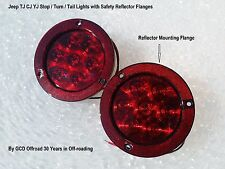 "2 x 4"" Round LED Tail Lights with Safety Reflector Mounting Flanges Jeep Truck"