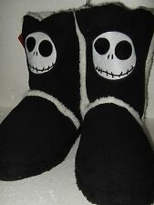 Women's XL 11-12 Nightmare Before Christmas Jack Face Plush Boot Slippers Disney