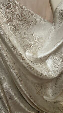 "20""SILVER COLOUR PAISLEY METALLIC BROCADE /JACQUARD FABRIC 58"" WIDE cheapest"