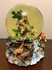 "Animal Snowglobe Music Box ""Born Free"" Elephants In The Jungle"