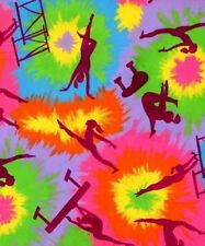 Girls Gymnastics Children Tie Dye Fleece Fabric Print by the yard A246.02