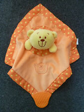 ORANGE TEDDY BEAR BLANKIE DOUDOU SOFT COMFORTER HUG TOY TEETHER BRUIN TOYS R US