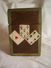 RUSSIAN WOODEN PLAYING CARD BOX W/HINGED LID + CARVED DECORATION