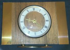 Bentima Mantle Clock Quartz Retro Chic Brass & Oak. Hands Of The Golden Scroll