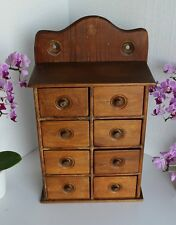 Primitive Kitchen Wall Mount Wood 8 Drw Spice Box Cabinet Apothecary Drugstore
