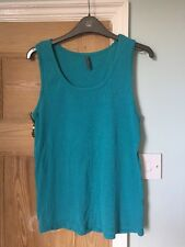 Turquoise Blue/Green Casual Cotton Vest Top Sleeveless Size 16 Plus Size By Evie