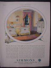1925 Simmons Beds Mattress Furniture Full Page Color Vintage Print Ad 11835