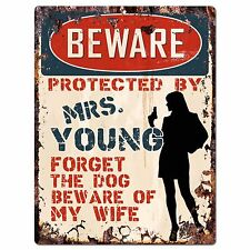 PPBW 0031 Beware Protected by MRS. YOUNG Rustic Chic Sign Funny Gift Ideas
