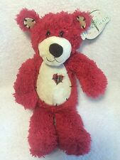 """Plush Tender Teddy Bear Red Plaid Heart With Tags 1415 First & Main Inc 12"""""""