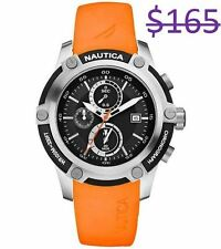 Nautica Men NST 05 Chronograph 3 Sub DIal Diver Sports Orange Resin Band Watch