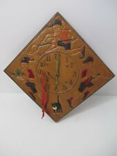 Hand Carved Painted Wood Wall Clock Wind Up w/ Key Gnomes Holland? Scandinavian