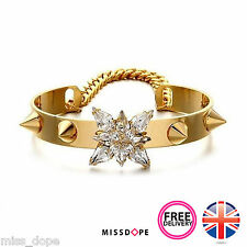 NEW Spike Gold Crystal Shourouk Chain Bracelet Bangle Ladies Womens Crystal UK