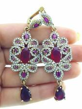 TURKISH HANDMADE JEWELRY 925 Sterling Silver Antique Ruby Earrings E2573
