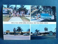 Postcard FL West Palm Beach Royal Plam Motor Lodge & Grill 1950's Old Cars