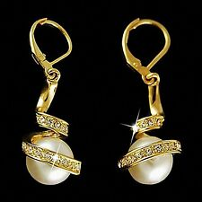 18k Yellow Gold GP Pearl lab Diamond Wedding Bridal Party Dangle Spiral Earrings