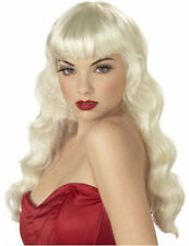 DELUXE PIN UP GIRL  WIG  FANCY DRESS FRINGE  LONG WAVY BLONDE 1950S JESSICA