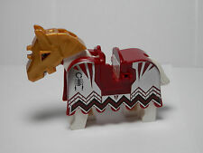 LEGOS - NEW  Horse Dark Red Horse Barding Vladek Scorpion Pattern Battle Helmet