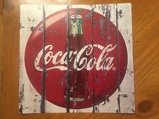 Tin Sign Vintage Coca-Cola Wooden Background